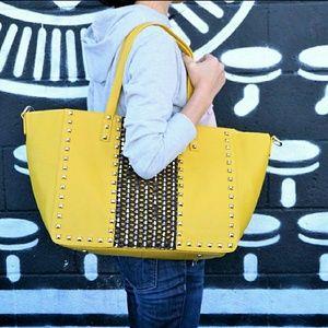 Oversized Studded Mustard Tote Bag